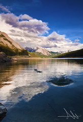 Echo of Silence #Explore (Ali Al-Zaidi) Tags: lake canada mountains clouds landscape jasper mountainous digitalcameraclub