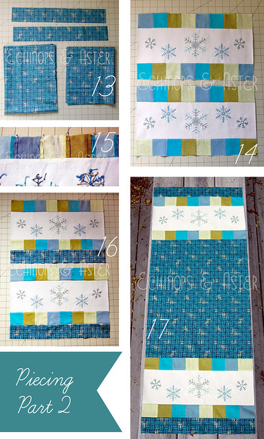 Piecing (part 2) for the Embroidered Snowflake Table Runner