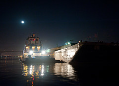 Tug and Barge and Full Moon (OneEighteen) Tags: moon night port lights harbor marine houston full maritime tug nautical barge pilot channel houstonshipchannel
