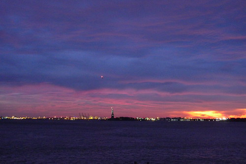 sunset, statue of liberty