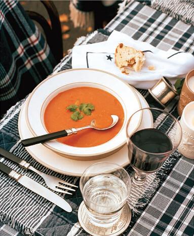 creamed soup, plaid table cloths
