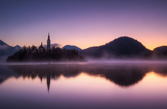 Dawn at Lake Bled (TheFella) Tags: longexposure travel trees wedding mist lake mountains alps slr tower church water beautiful misty fog digital photoshop sunrise canon reflections landscape island eos dawn photo high julian europe purple dynamic foggy hills slovenia photograph processing slowshutter bled romantic 5d bluehour slovenija weddings balkans dslr range hdr highdynamicrange balkan markii glacial postprocessing mitteleuropa lakebled travelphotography glaciallake julianalps slovene blejskiotok bledisland photomatix republikaslovenija cerkevmarijinegavnebovzetja blejskojezero wishingbell thefella pilgrimagechurchoftheassumptionofmary 5dmarkii republicofslovenia conormacneill thefellaphotography northbalkans