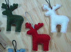 Christmas Ornaments / Reindeer Ornaments (you choose color) - Handmade Christmas(custom size and color) (LittleLoveHM) Tags: christmas holiday reindeer snowman holidays unique decoration away felt special give ornament gift decor