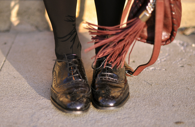 black patent oxfords with tights-burgundy bag with tassel