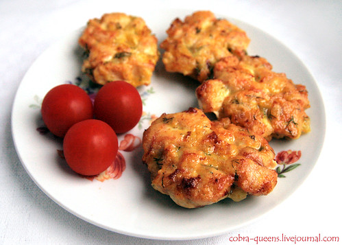 Yellow chicken fritters