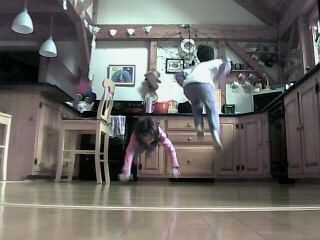 Jumping in the kitchen