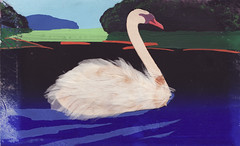 Swan (Hannhell) Tags: old blue red white black vintage finland swan paint postcard feathers