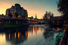 Bath (martinturner) Tags: bridge autumn sunset water architecture night river hotel boat bath long exposure dusk somerset lee empire avon barge weir pulteneybridge bathampton wier martinturner