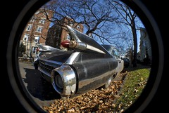 Spaceship On Wheels (Wires In The Walls) Tags: rearpanel chrome tailfin 1950s 1959 cadillac sedan black vehicle classic vintage automobile car newhaven ct connecticut 2011 wideangle fisheye