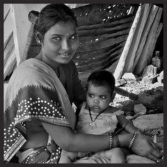 Mother and child in b&w (Deb Jones1) Tags: life travel portrait people bw india beauty canon children outdoors 1 jones asia culture places explore indians deb flickrduel