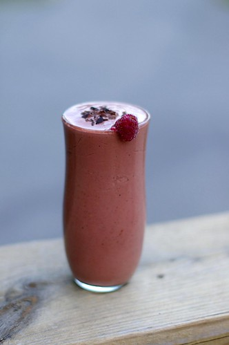 Vegan chocolate raspberry milkshake