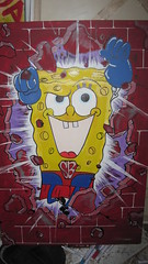 Bre's Spongebob (Bre.One) Tags: street art philadelphia painting bricks cartoon bre spongebob superhero philly breone brespainting