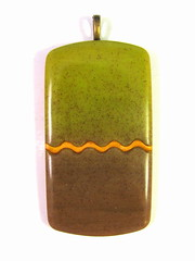 Lime Plum and Wavy Gold Pendant