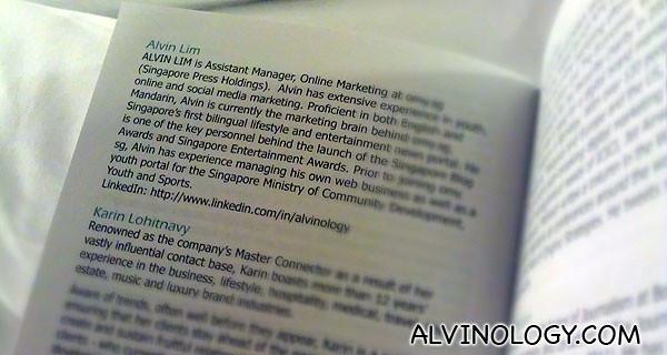 My profile description in the program booklet