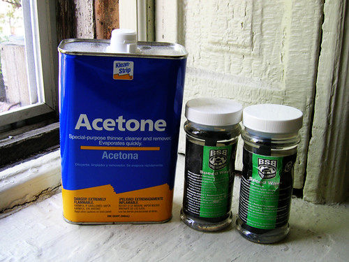 acetone with bsb cleaning bottles
