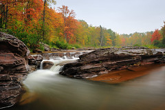 """Bonanza Falls"" - (Big Iron River)  Silver City , Michigan (Michigan Nut) Tags: longexposure autumn red sky orange usa mist color tree fall nature rain weather fog america river season geotagged photography waterfall stream cloudy waterfalls upperpeninsula cascade bedrock johnmccormick bonanzafalls silvercitymichigan"