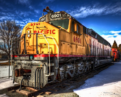 Union Pacific Centennial #6901 (Cygnus~X1 - Visions by Sorenson) Tags: railroad blue red sky usa white snow yellow clouds train canon eos centennial unitedstates engine railway idaho transportation unionpacific locomotive hdr pocatello rosspark diesellocomotive 6901 ef24105mmf4lisusm primemover dda40x 5dmkii craigsorenson visionsbysorenson generalmotorsemddda40x