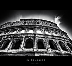 Il Colosseo (Daniel Wildi Photography) Tags: italien bw italy white black rome roma stone architecture theater roman forum landmark colosseum amphitheater rom lazio colosseo kolosseum 2011 flavium danielwildi|photography