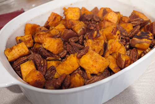 Roasted Sweet Potato with Spiced Maple Pecans