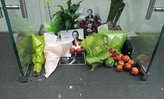 Floral (and fruit) tributes to the late Steve Jobs outside the Apple Store, Sydney.