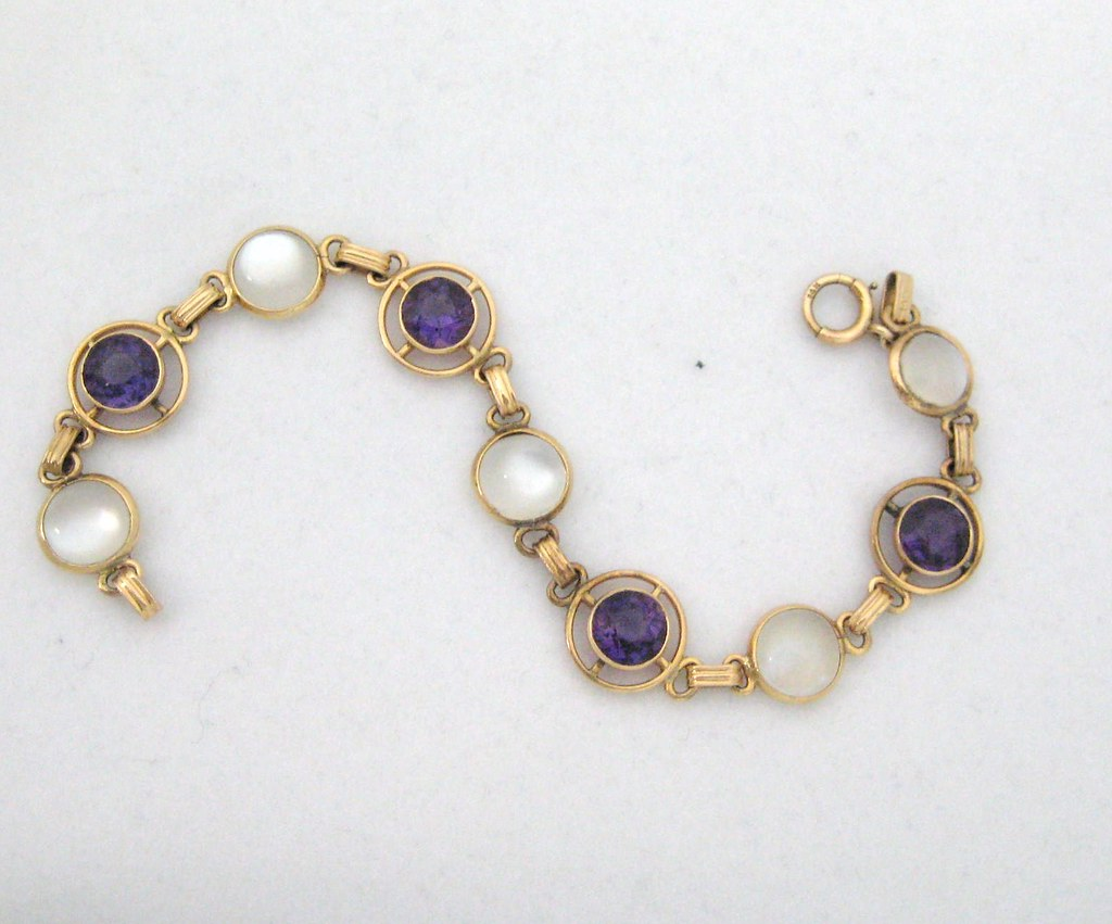 Retro Moonstone and Amethyst Bracelet set in 14k Yellow Gold - $1,100