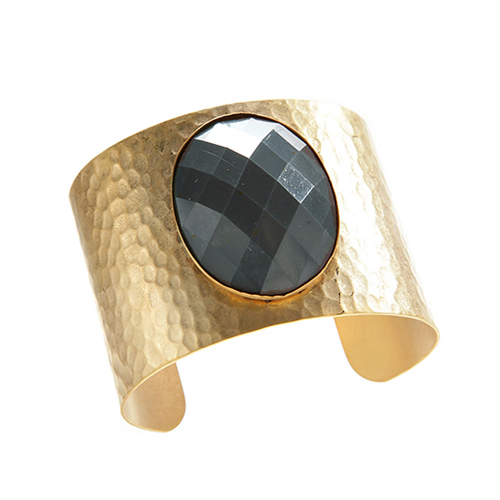 Gold Plated Wide Hammered Cuff with Blue Resin Accent David Aubrey for April M