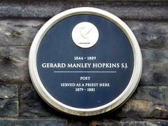 Photo of Gerard Manley Hopkins black plaque