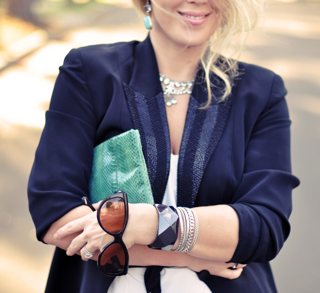 details-beaded lapel-black blazer-accessories-jewelry-hair