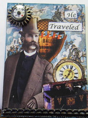 Traveling Man ATC:traded (raidensgrammie21) Tags: travel man watch balloon gear trunk compass
