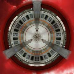 Subway Little Planet (amfipolos) Tags: station train photoshop subway photography metro railway 360 athens panoramic sonycybershot polarcoordinates littleplanet polarpanorama stereographicprojection