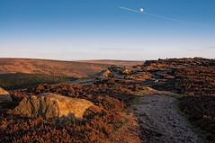 Higger Tor_270310_0016 Near Miss (Steve Bark) Tags: uk sunset england moon nature landscape nikon district derbyshire jet peak tokina tor hdr d90 higger copyrightstevebark