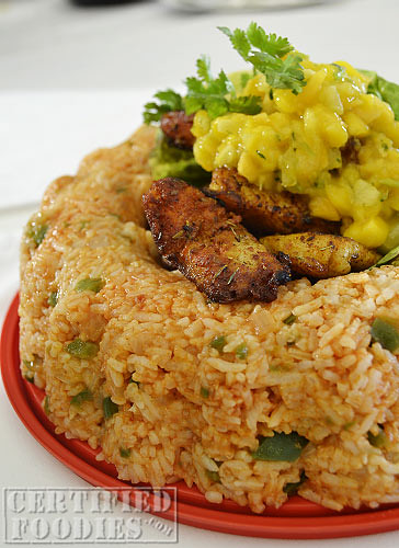 Cajun Cream Dory with Tropical Fruit Salsa and Spanish Rice