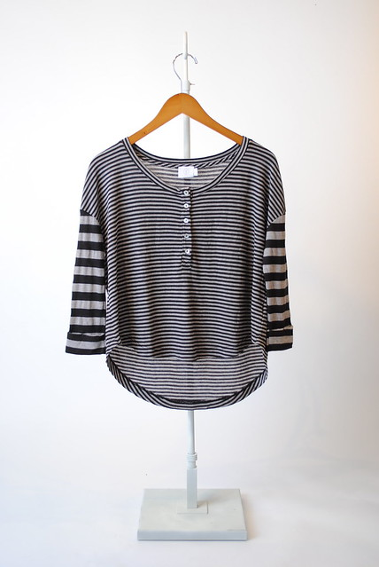 Cropped Henley Stripe Thermal T-Shirt