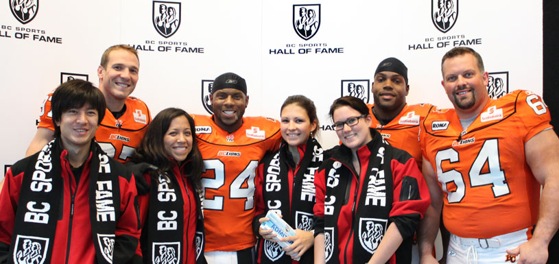BC Lions football players with Hall of Fame staff, Sept 28 2011