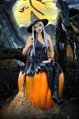 Happy Halloween Witch ~ [Explored] (Alexandria LaNier) Tags: moon art halloween beautiful fairytale youth pumpkin fun costume dress witch spirit magic spell teen fantasy harvestmoon alexandrialanier