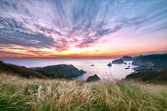 "Sunset at ""Yuusuge park ()"" (-TommyTsutsui- [nextBlessing]) Tags: longexposure autumn light sunset sea sky orange seascape green nature yellow japan clouds landscape coast leaf nikon purple dusk magic scenic       islet hdr izu  minamiizu sigma1020   onsalegettyimages"