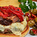 Mmm... Cheeseburger with red onion jam, prosciutto, and roasted red peppers