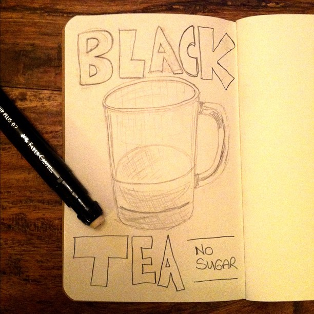 011111_ black tea, no sugar (01/50 #nanodrawmore)