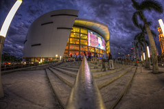 American Airlines Arena fisheye view 2 (Junior Henry.) Tags: night clouds florida cloudy miami arena american airlines hdr
