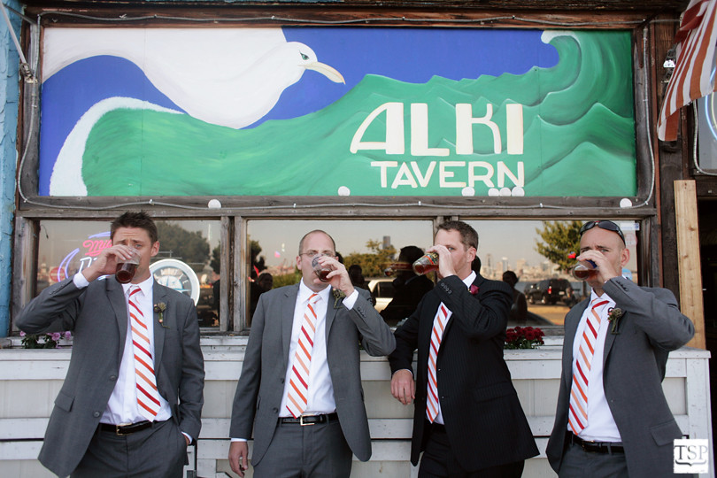 Groom and Groomsmen Drinking at Alki Tavern