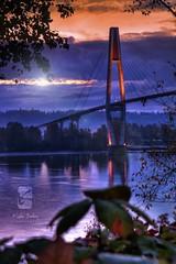 Translink Skybridge (Kyle Bailey - Da Big Cheeze) Tags: bridge water clouds sunrise canon river sigma skybridge lensflare translink fraserriver hdr newwestminster metrovancouver kylebailey dabigcheeze kylebaileyphotography
