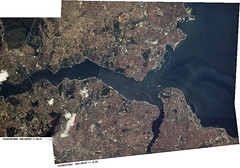 Istanbul and the Bosphorus (sjrankin) Tags: panorama turkey edited istanbul nasa bosphorus iss003