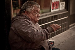 On the street (In my entirety) Tags: street old choir canon lens photography 50mm prime town cigarette homeless smoking beggar sidewalk ii pasadena f18 unexpected ef xsi conducting
