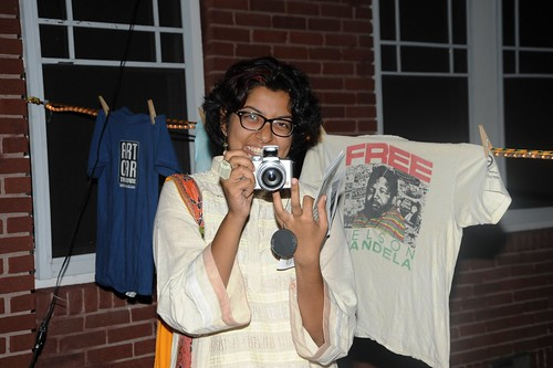 Filmmaker Haya Iqbal enjoying clothesline installation