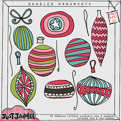 justjaimee_doodledornaments_prev (Just Jaimee) Tags: christmas digital scrapbooking ornaments commercial use layered doodled