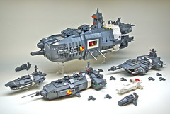 U.E.F. Battle Group - Microscale LEGO spaceships (1) (Dunechaser) Tags: lego space destroyer battleship fighters fleet cruiser carrier hospitalship gunboat microscale foitsop