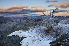Scarlet and Snow (Brent McGuirt Photography) Tags: blue autumn winter sunset mountain snow fall ice rock clouds virginia view foliage ridge spy rime montebello