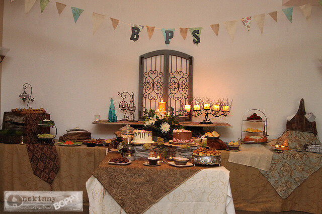 rustic elegant shower tablescape with burlap bunting