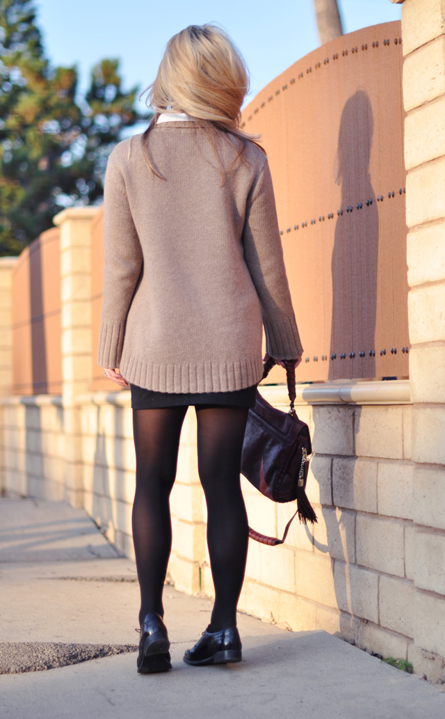 cashmere oversized sweater - mini skirt-tights-oxfords- lace up shoes