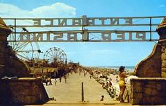 Pier Casino Entrance Daytona Beach FL (Edge and corner wear) Tags: ocean beach wheel sign vintage pc florida postcard stonework motel ferris atlantic chrome fl daytona bandshell